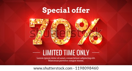 70 Percent Bright Red Sale Background with golden glowing numbers. Lettering - Special offer for limited time only