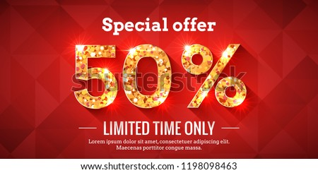 50 Percent Bright Red Sale Background with golden glowing numbers. Lettering - Special offer for limited time only