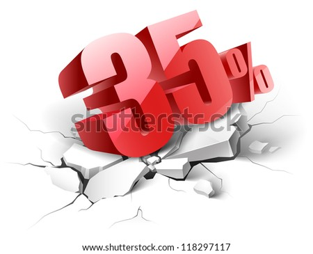 35 percent discount icon on white background