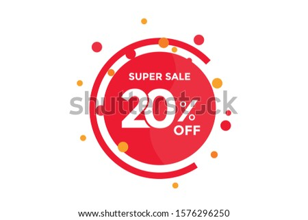 20 percent DISCOUNT IN Banner Sales Discounts. Discounts for offers. Special Offer, Discount Label vector template