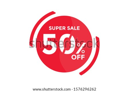 50 percent DISCOUNT IN Banner Sales Discounts. Discounts for offers. Special Offer, Discount Label vector template