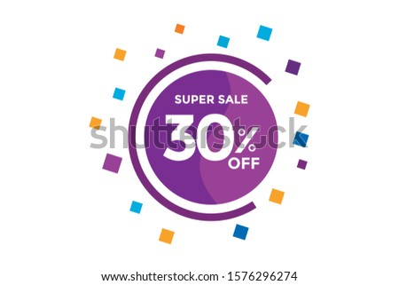 30 percent DISCOUNT IN Banner Sales Discounts. Discounts for offers. Special Offer, Discount Label vector template