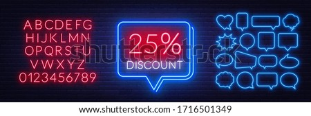 25 percent discount neon sign on brick wall background. Template for a design with speech bubble frames.