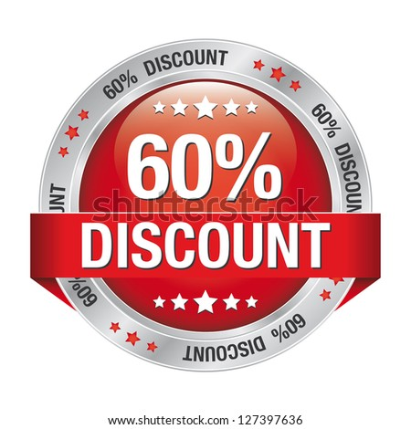 60 percent discount red button isolated background