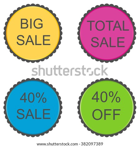 40 percent. Discount set of vector stickers. #382097389