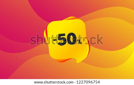 50 percent discount sign icon. Sale symbol. Special offer label. Wave background. Abstract shopping banner. Template for sale design. Vector