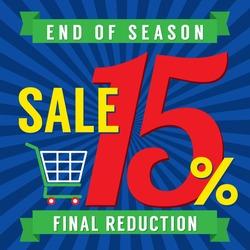 15 Percent End of Season Sale Vector Illustration