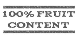 100 Percent Fruit Content watermark stamp. Text caption between horizontal parallel lines with grunge design style. Rubber seal stamp with unclean texture.