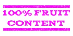 100 Percent Fruit Content watermark stamp. Text caption between horizontal parallel lines with grunge design style. Rubber seal stamp with dirty texture.