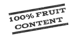 100 Percent Fruit Content watermark stamp. Text tag between parallel lines with grunge design style. Rubber seal stamp with unclean texture. Vector gray color ink imprint on a white background.