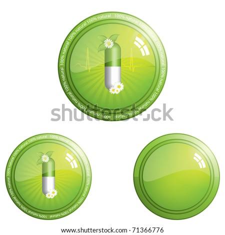 100 percent herbal pills button icon - design element