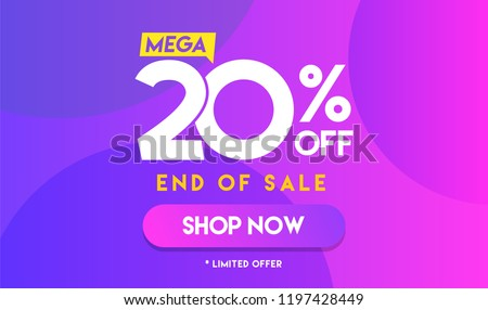 20 percent Mega Discount sale Colorful minimal gradient blue pink vector illustration banner