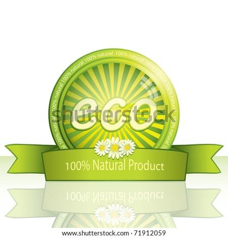 100 percent natural button icon - Eco promo sticker. Vector