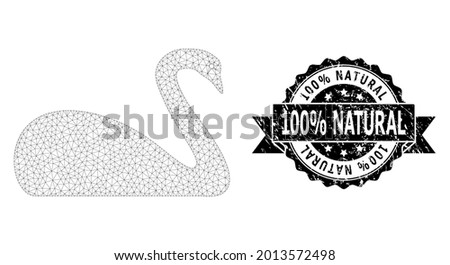 100 percent Natural unclean seal and vector goose mesh structure. Black seal has 100 percent Natural title inside ribbon and rosette. Abstract flat mesh goose, designed with flat mesh. Foto stock ©