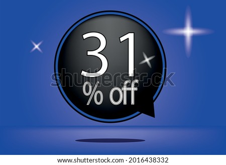 31 percent off black balloon and floating. with blue background, banner 31% off blue, shadow Сток-фото ©