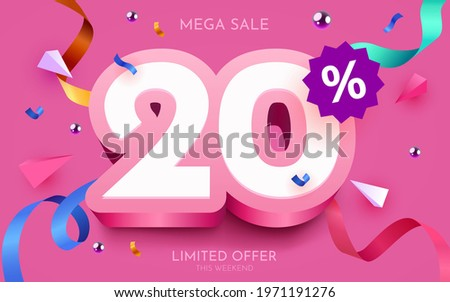 20 percent Off. Discount creative composition. 3d mega sale 20% symbol with decorative objects. Sale banner and poster. Vector illustration. Сток-фото ©