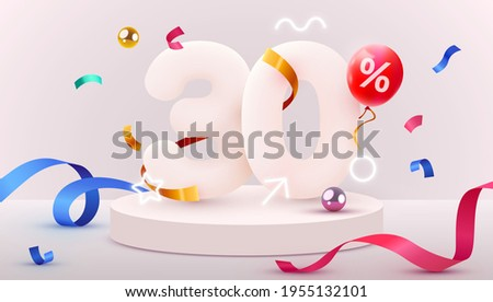 30 percent Off. Discount creative composition. 3d sale symbol with decorative objects, heart shaped balloons, golden confetti, podium and gift box. Sale banner and poster. Vector illustration. Stock photo ©