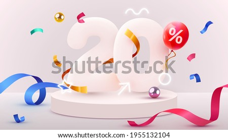 20 percent Off. Discount creative composition. 3d sale symbol with decorative objects, heart shaped balloons, golden confetti, podium and gift box. Sale banner and poster. Vector illustration. Сток-фото ©