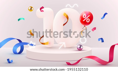 10 percent Off. Discount creative composition. 3d sale symbol with decorative objects, heart shaped balloons, golden confetti, podium and gift box. Sale banner and poster. Vector illustration.
