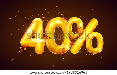 40 percent Off. Discount creative composition of golden balloons. 3d 40% mega sale or forty percent bonus symbol with confetti. Sale banner and poster. Vector illustration. Stockfoto ©