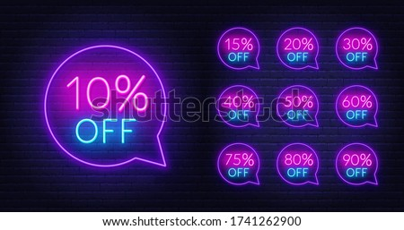 10, 15, 20, 30,40 50, 60, 75, 80, 90 percent off neon discount light signs on a dark background.