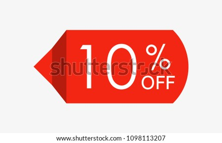 10 percent off. Sale and discount price tag, icon or sticker. Vector illustration.