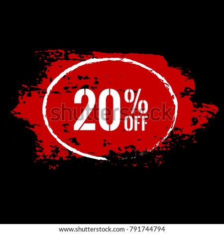 20 percent OFF Sale Discount Banner. Special offer sale label. Vector modern 20 percent off red and white sticker Illustration. Isolated paint brush stroke background. Discount offer price tag.