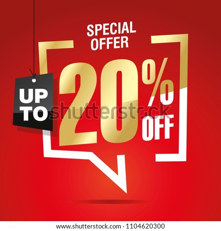 20 percent off sale isolated gold red sticker icon
