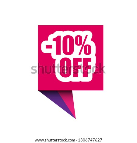 10 percent off sale label.10% discount promotion flat banner.10% discount paper origami speech bubble
