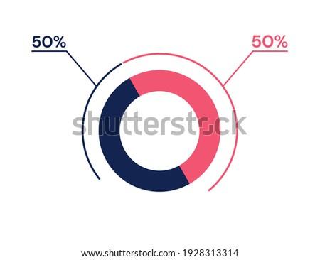 50 50 percent pie chart. 50 50 infographics. Circle diagram symbol for business, finance, web design, progress