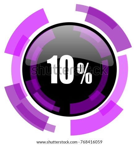 10 percent pink violet modern design vector web and smartphone icon. Round button in eps 10 isolated on white background.