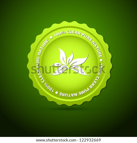 100 Percent Pure Nature Green Sign with white leaves - vector