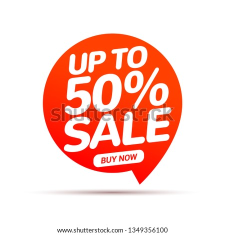 50 percent Sale speech bubble banner sign. Discount tag design template. Business label promo offer.