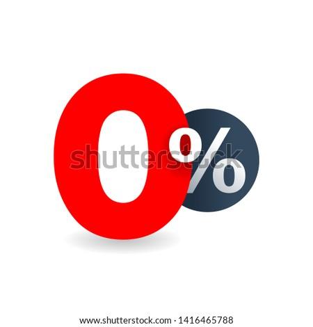 0 percent - zero percent sticker -  credit without commission symbol of 0%