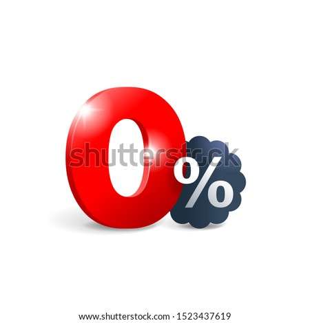 0 percent - zero percent sticker -  credit without commission symbol with shiny brilliance stars