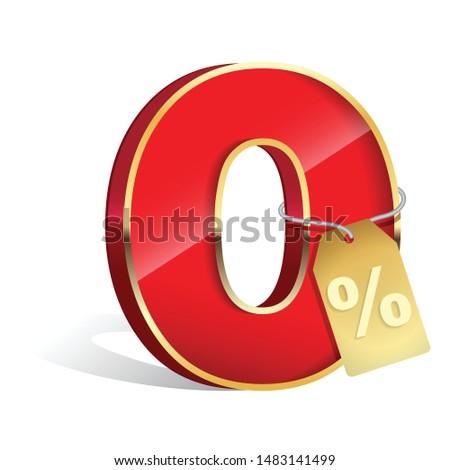 0 percent - zero percents commission sticker for credit company offers - Vector