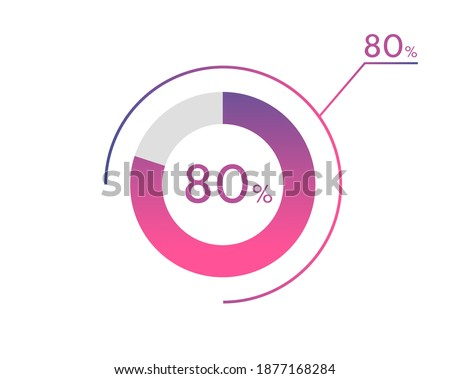 80 Percentage diagrams, pie chart for Your documents, reports, 80% circle percentage diagrams for infographics