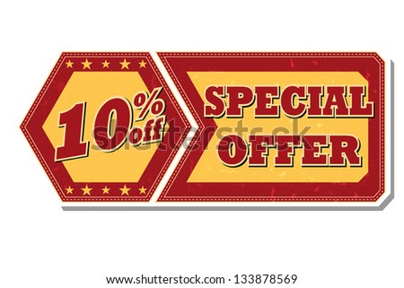 10 percentages off discount special offer - retro style red ocher hexagon and flyer label with text and stars, business concept, vector