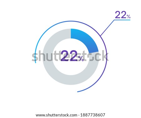 22 percents pie chart infographic elements. 22% percentage infographic circle icons for download, illustration, business, web design Сток-фото ©