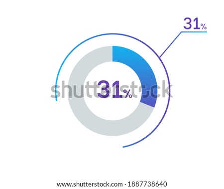 31 percents pie chart infographic elements. 31% percentage infographic circle icons for download, illustration, business, web design Zdjęcia stock ©