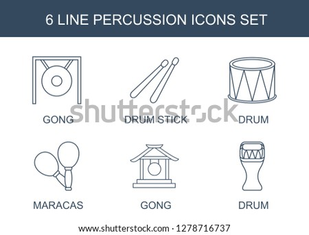 6 percussion icons. Trendy percussion icons white background. Included line icons such as gong, drum stick, drum, maracas. percussion icon for web and mobile.
