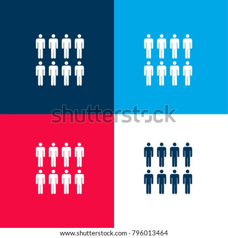 8 persons four color material and minimal icon logo set in red and blue