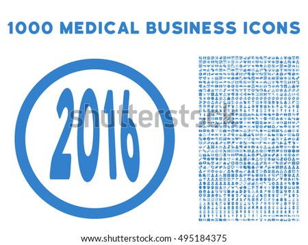 2016 Perspective icon with 1000 medical commerce cobalt vector pictographs. Clipart style is flat symbols, white background.