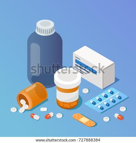 Pharmacy concept. Modern 3d isometry image. Flat style  isometric  vector illustration.