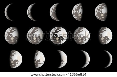 phases of moon vector
