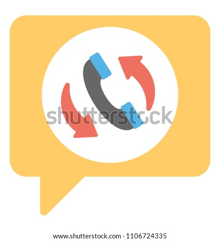 Phone handset with speech bubble arrows representing callback