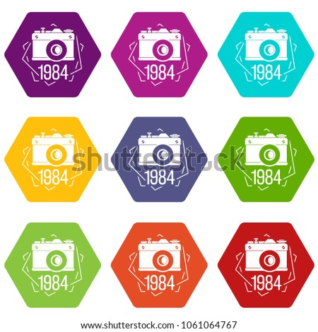1984 photo camera icons 9 set