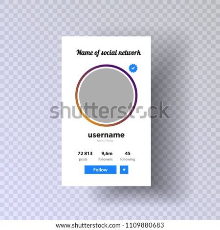 Photo from account. Follow. Social network photo, Photo frame vector illustration a transparent background