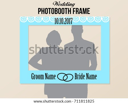 Photobooth wedding frame with date. Blue White and black colors vector template with white decorative element.