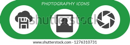 photography icon set. 3 filled photography icons. Simple modern icons about  - Diskette, Polaroid, Camera